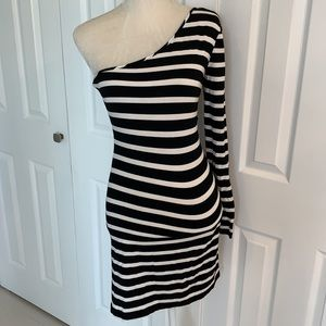 Ronny Kobo One Shoulder Stripes Dress